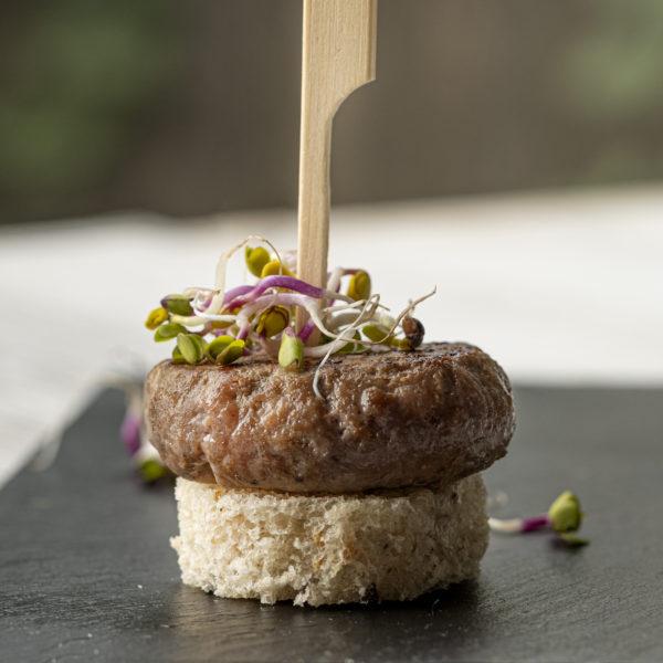 MINI HAMBURGUESA DE MAGRET D´ÀNEC amb Foie-gras i figa 30 gr. (12 UN.)